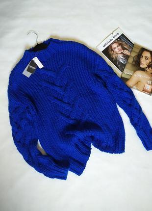 Трендовый свитер,джемпер ,крупная вязка с косами !