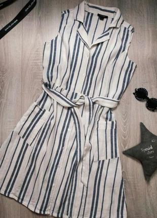 Льняное платье в полоску натуральный сарафан лен вискоза хлопок с поясом