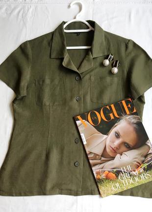 Льняная рубашка лён льон зеленая хаки блуза футболка винтажная винтаж в стиле cos