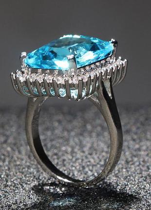 Огромный аквамарин интересной формы кольцо серебро