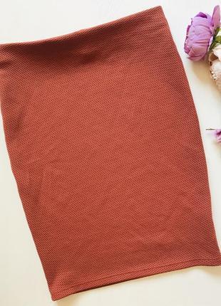 Терракотовая юбка карандаш на резинке l xl