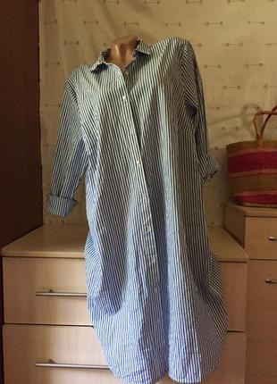 Стильная рубашка платье в полоску на пуговицах длинная рубашка