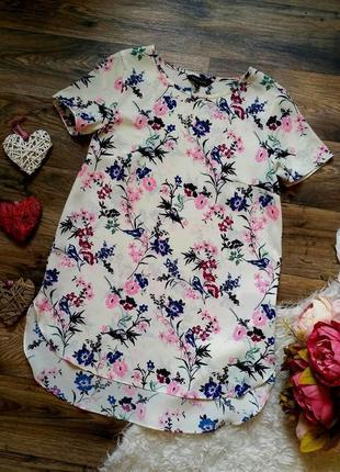 Акция 1+1=3🎁красивая блуза в принт цветы и птички размер 6-8 (38-40)