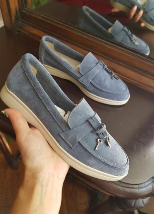 Лоферы, туфли замшевые женские