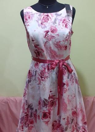 Платье цветвы цветочный принт атласное цветок нарядное пышная юбка летнее лето