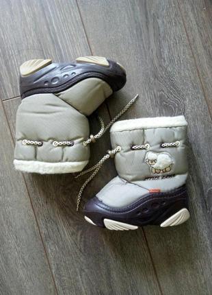 Зимние коричневые бежевые сапоги ботинки demar демар 26-27 на овчине 16,5 см