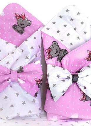 Конверт на выписку для новорожденных в роддом для девочки летний двухсторонний