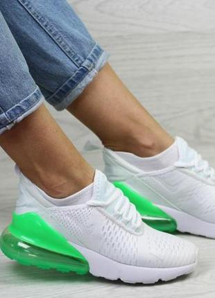 Женские кроссовки nike air max 270 (белые с светло/зелёным)