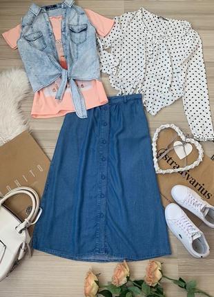 Комплект четыре вещи юбка на пуговках новая футболка топ джинс  и блуз