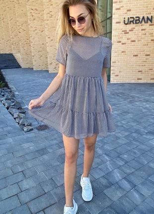 Оригинальное летнее платье двойка с принтом гусиная лапка
