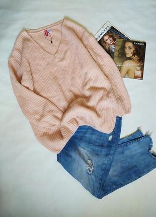 Трендовый пудровый джемпер ,свитер oversize!