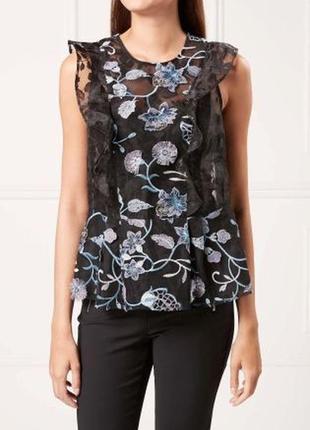 Очень красивая блуза с вышивкой кружевом next в стиле zara mango sandro maje