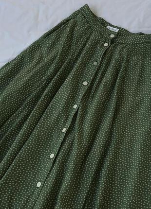 Винтажная юбка из 100% хлопка на высокой талии с карманами по бокам