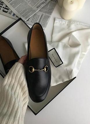 Чёрные лоферы классические женские туфли с металической пряжкой