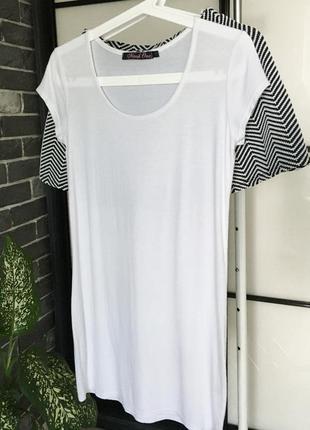 Базовая белая удлиненная футболка