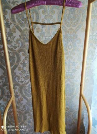 Платье в рубчик с интересной спинкой от topshop