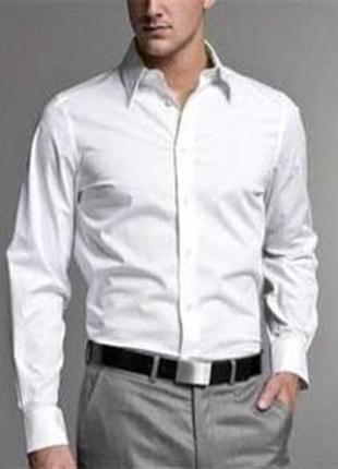 Натуральная, классическая рубашка бренда jean chatel, р. 52-54