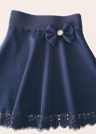 Школьная юбка с кружевом2 фото