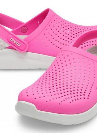 Кроксы сабо crocs literide clog / electric pink