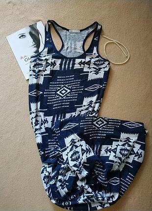 Платье макси с абстрактным принтом