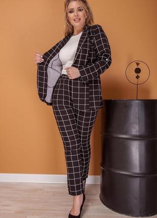 Костюм (пиджак и брюки / штаны) черный в крупную клетку (клеточку)