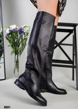 Женские кожаные сапоги ботфорты