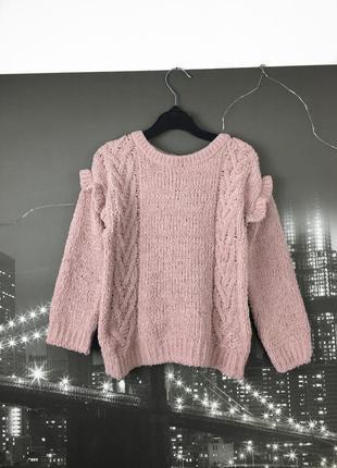 Бархатный розовый вязаный свитер на 4-5 лет