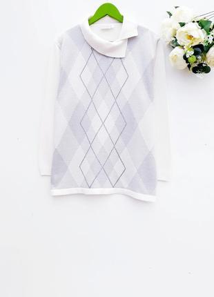 Красивый нежный свитер большой размер молочный свитер