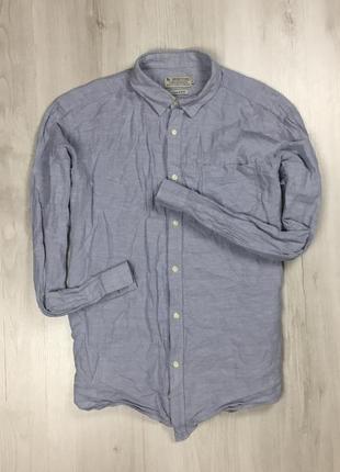 Рубашка льняная tu голубая мужская синяя рубашка
