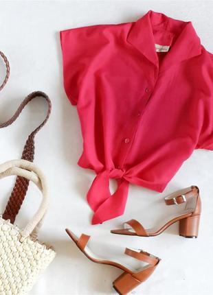 Малиновая блуза на завязках marks & spencer