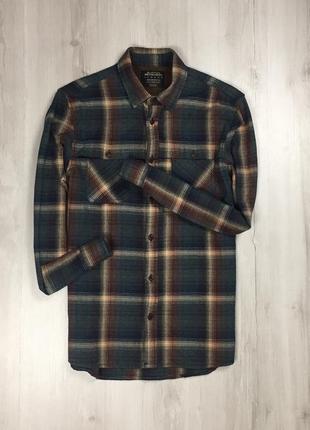 Приталенная рубашка плотная burton мужская клетчатая рубашка в клетку темная