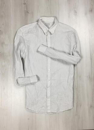 Приталенная рубашка льняная gap мужская полосатая рубашка гап гэп серая белая