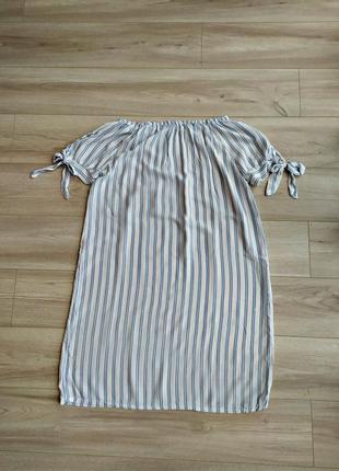 Фирменное полосатое платье без плеч