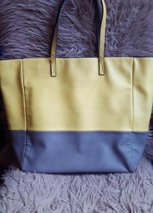 Сумка шопер зара zara женская серая желтая яркая неоновая лимонная эко кожа