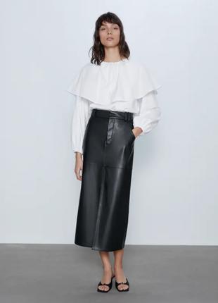 Новинка! белая блуза с круглым воротником хлопковая из поплина zara