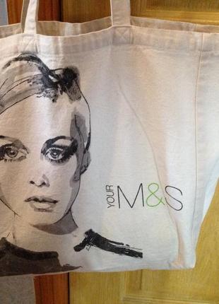 Большая парусиновая (полотняная сумка) - шопер бренда m&s