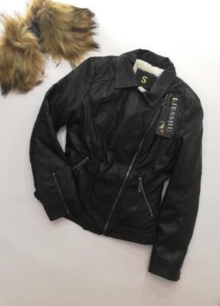 Кожаная куртка на меху xs-s, зимняя кожаная куртка