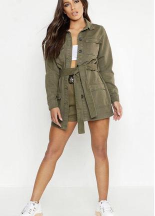 Джинсовый жакет куртка с поясом и накладными карманами цвет хаки
