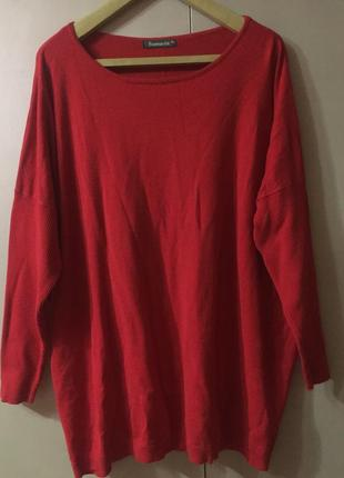 Ярко красный свитер свитшот реглан со спущенными рукавами