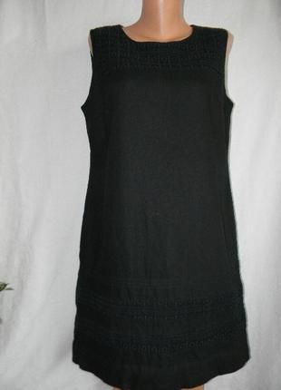 Черное платье лен с кружевом