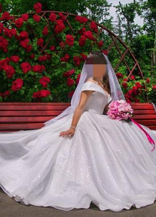 Свадебное платье, блестящее, с блестками