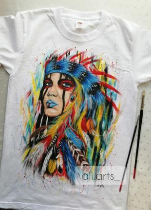 Шикарная футболка с росписью красками индеец яркая рисунок не принт