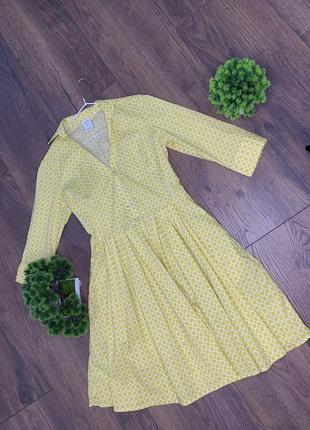 Платье желтое натуральное