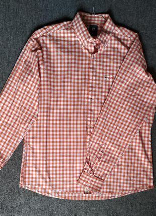 Рубашка в клетку pierre cardin 100%хлопок