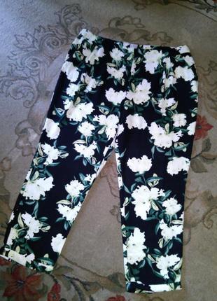 Шикарные,летние,зауженные брюки с карманами,цветочный принт,высокая посадка,большой размер