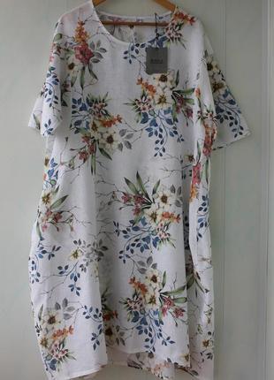 Легкое платье баллон, в стиле бохо в цветах из 100% льна, италия