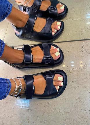 Натуральные кожаные босоножки. черные кожаные сандалии спортивные на липучках. 36-40