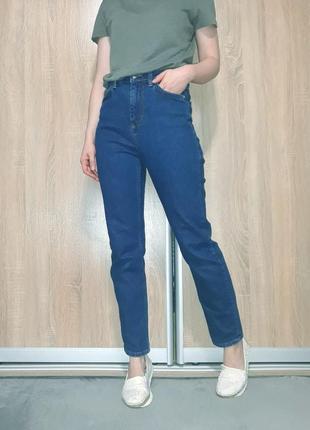 Темно синие коттоновые прямые джинсы мом на высокой посадке от topshop