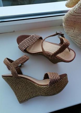 👜босоножки на плетёной танкетке 👜бежевые туфли на платформе в стиле casadei 👜ретро стиль