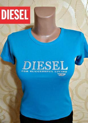 Яркая голубая футболка diesel, оригинал